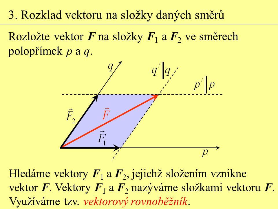 3. Rozklad vektoru na složky daných směrů Hledáme vektory F 1 a F 2, jejichž složením vznikne vektor F. Vektory F 1 a F 2 nazýváme složkami vektoru F.