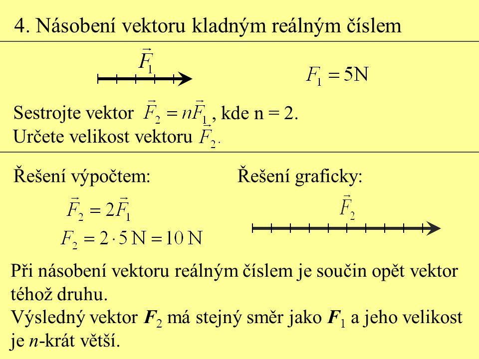 4. Násobení vektoru kladným reálným číslem Při násobení vektoru reálným číslem je součin opět vektor téhož druhu. Výsledný vektor F 2 má stejný směr j