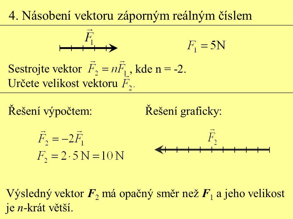 4. Násobení vektoru záporným reálným číslem Výsledný vektor F 2 má opačný směr než F 1 a jeho velikost je n-krát větší. Řešení graficky:Řešení výpočte