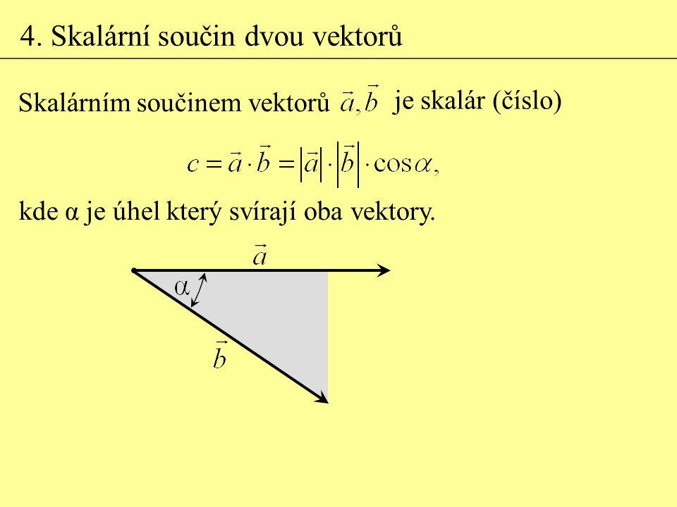 4. Skalární součin dvou vektorů Skalárním součinem vektorů je skalár (číslo) kde α je úhel který svírají oba vektory.