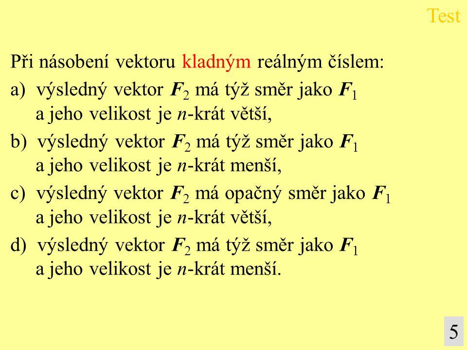 Při násobení vektoru kladným reálným číslem: a) výsledný vektor F 2 má týž směr jako F 1 a jeho velikost je n-krát větší, b) výsledný vektor F 2 má tý