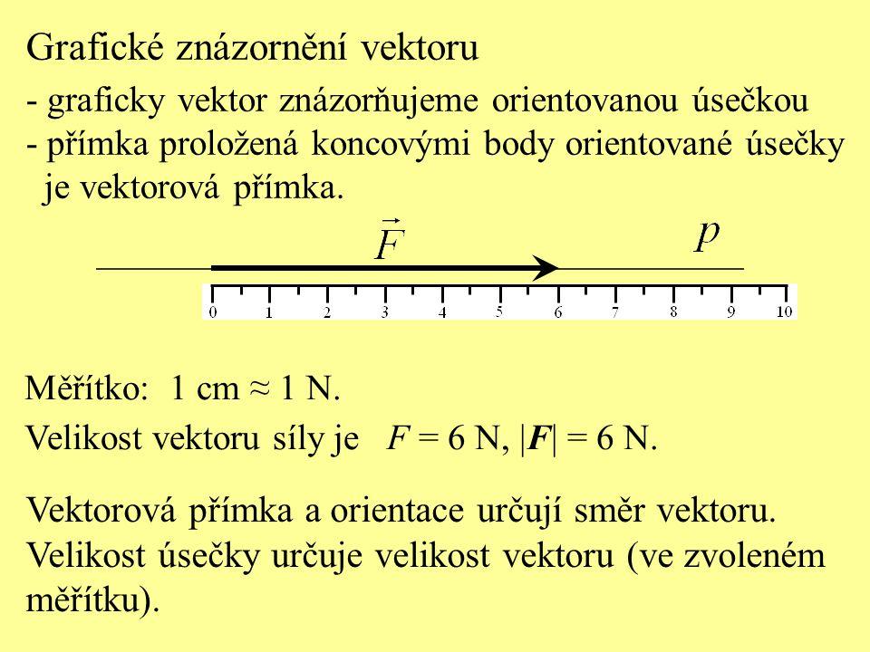 Grafické znázornění vektoru - graficky vektor znázorňujeme orientovanou úsečkou - přímka proložená koncovými body orientované úsečky je vektorová přím