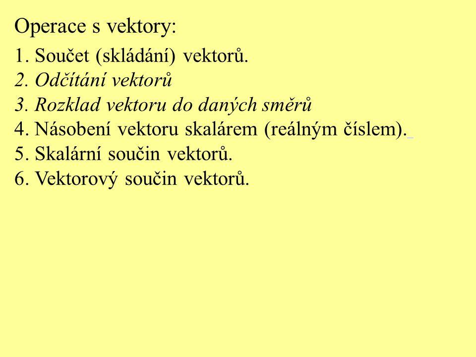 Operace s vektory: 1. Součet (skládání) vektorů. 2. Odčítání vektorů 3. Rozklad vektoru do daných směrů 4. Násobení vektoru skalárem (reálným číslem).