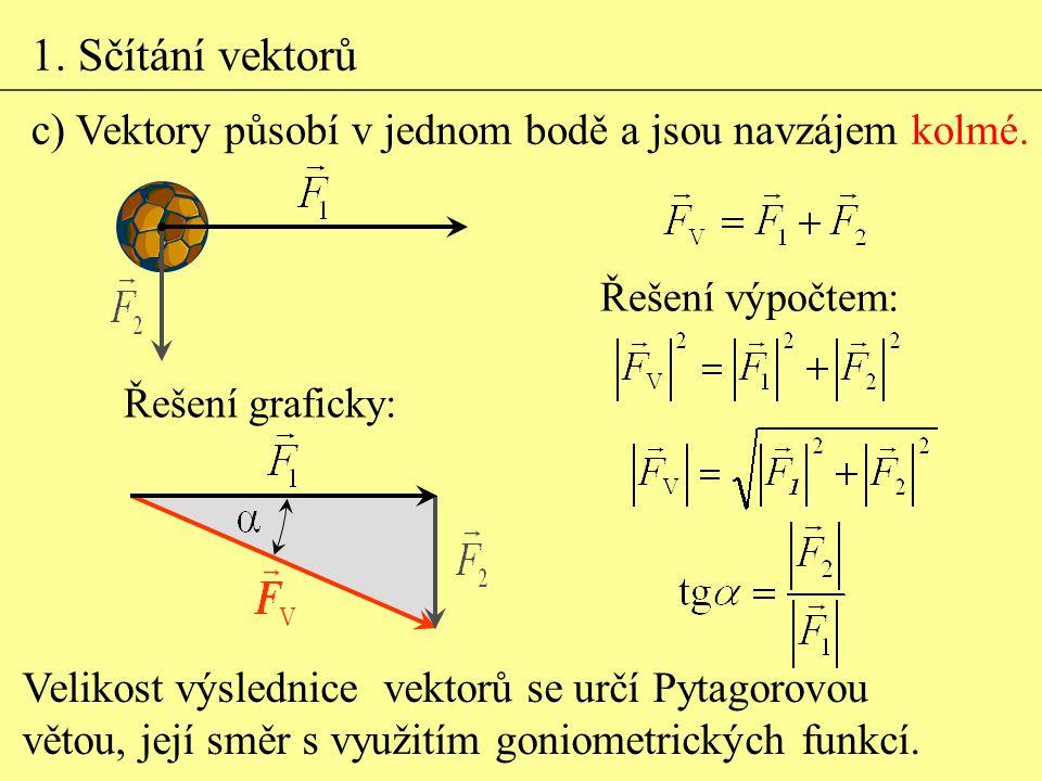 1. Sčítání vektorů c) Vektory působí v jednom bodě a jsou navzájem kolmé. Velikost výslednice vektorů se určí Pytagorovou větou, její směr s využitím