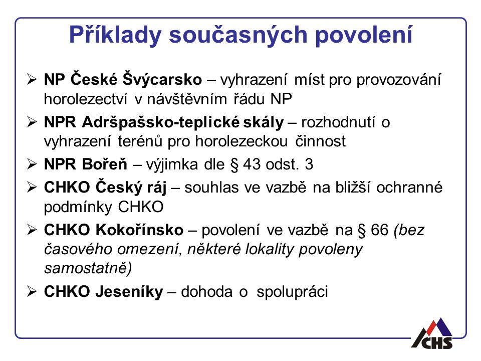 Příklady současných povolení  NP České Švýcarsko – vyhrazení míst pro provozování horolezectví v návštěvním řádu NP  NPR Adršpašsko-teplické skály –