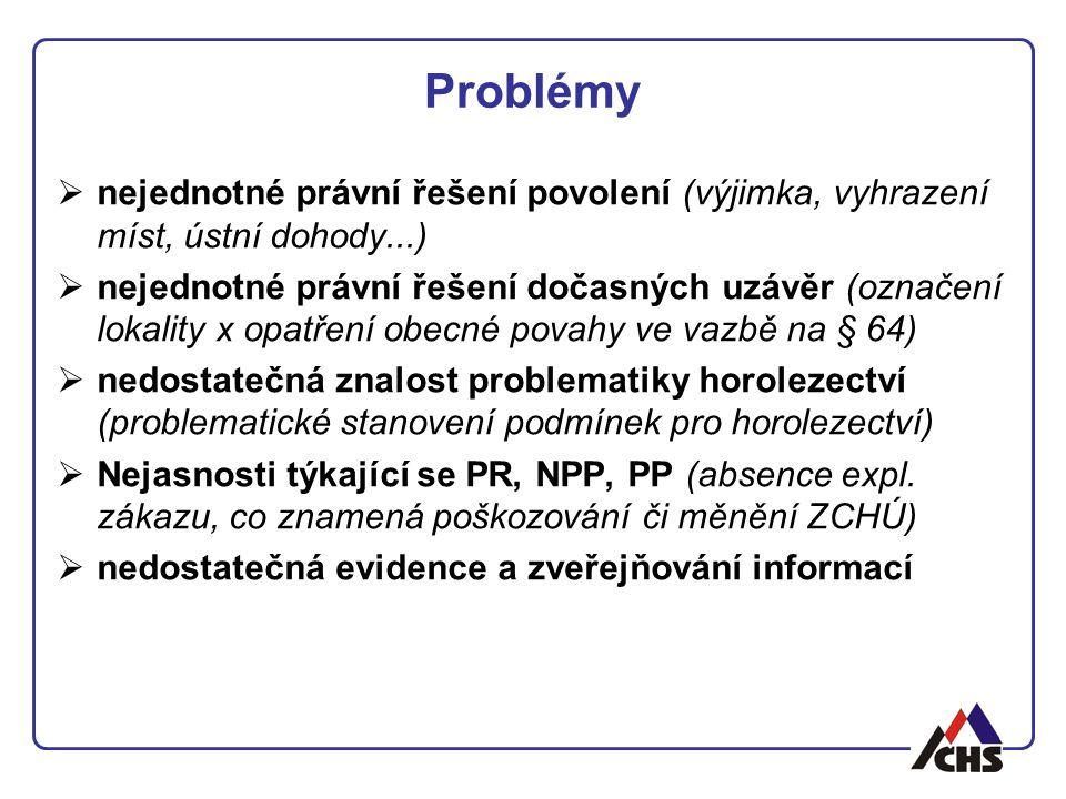 Problémy  nejednotné právní řešení povolení (výjimka, vyhrazení míst, ústní dohody...)  nejednotné právní řešení dočasných uzávěr (označení lokality