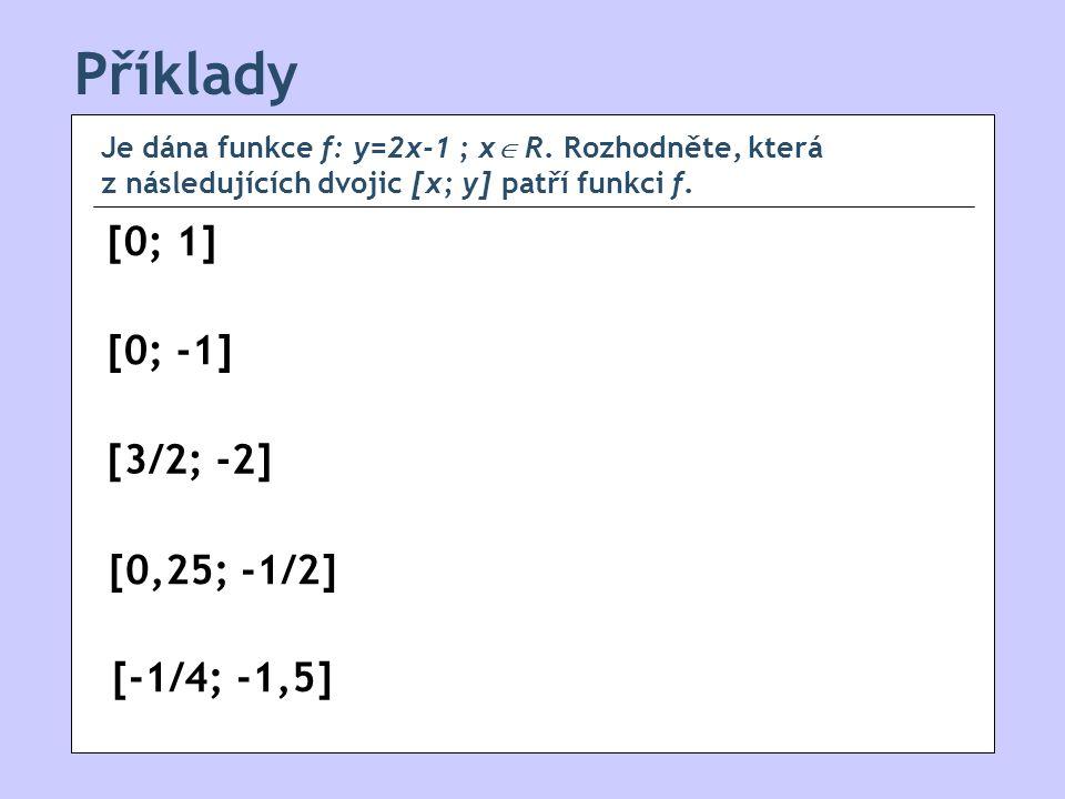 Příklady [0; 1] [0; -1] [0,25; -1/2] [-1/4; -1,5] [3/2; -2] Je dána funkce f: y=2x-1 ; x  R.
