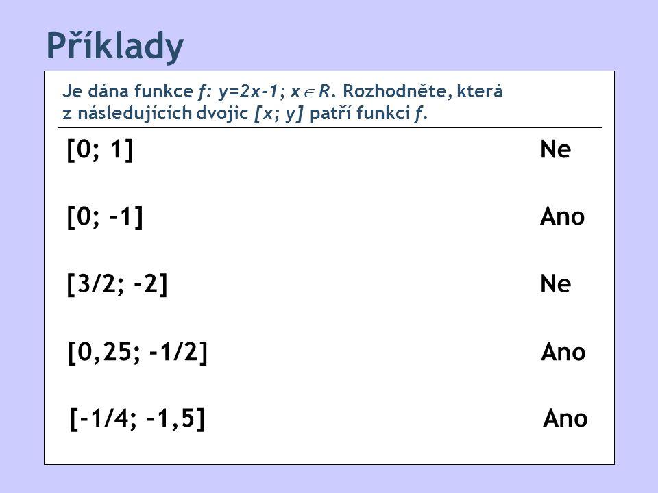 Příklady [0; 1] [0; -1] [0,25; -1/2] [-1/4; -1,5] [3/2; -2] Je dána funkce f: y=2x-1; x  R.
