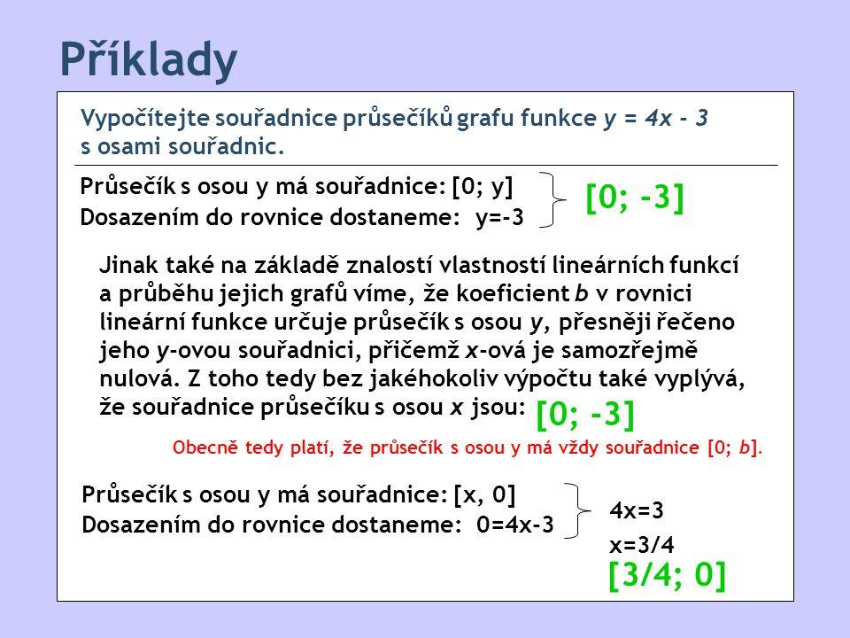 Příklady Vypočítejte souřadnice průsečíků grafu funkce y = 4x - 3 s osami souřadnic.