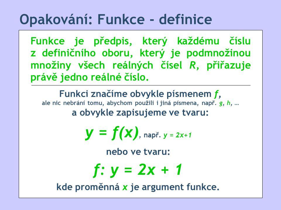Opakování: Funkce - definice Funkce je předpis, který každému číslu z definičního oboru, který je podmnožinou množiny všech reálných čísel R, přiřazuje právě jedno reálné číslo.