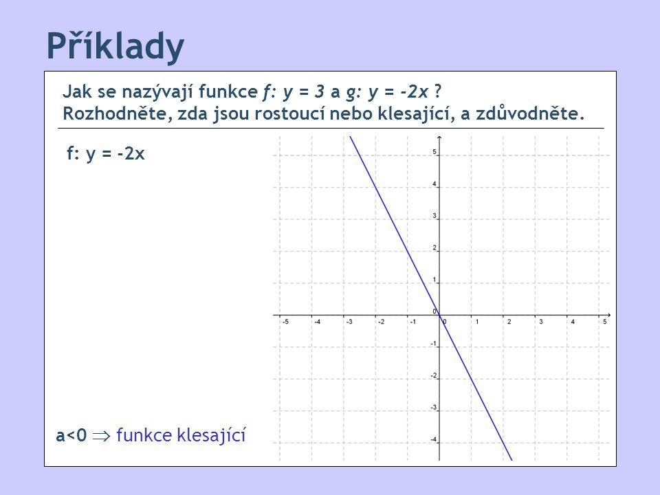 Příklady Jak se nazývají funkce f: y = 3 a g: y = -2x .