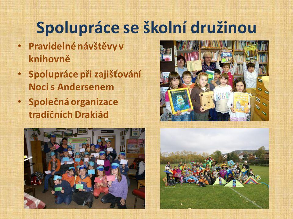 Spolupráce se školní družinou • Pravidelné návštěvy v knihovně • Spolupráce při zajišťování Noci s Andersenem • Společná organizace tradičních Drakiád