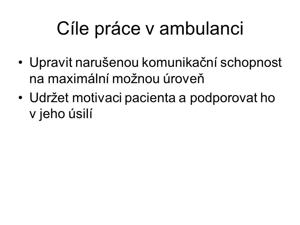 Cíle práce v ambulanci •Upravit narušenou komunikační schopnost na maximální možnou úroveň •Udržet motivaci pacienta a podporovat ho v jeho úsilí