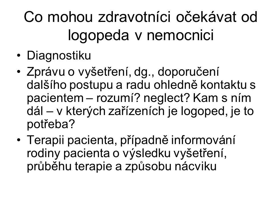Co mohou zdravotníci očekávat od logopeda v nemocnici •Diagnostiku •Zprávu o vyšetření, dg., doporučení dalšího postupu a radu ohledně kontaktu s paci