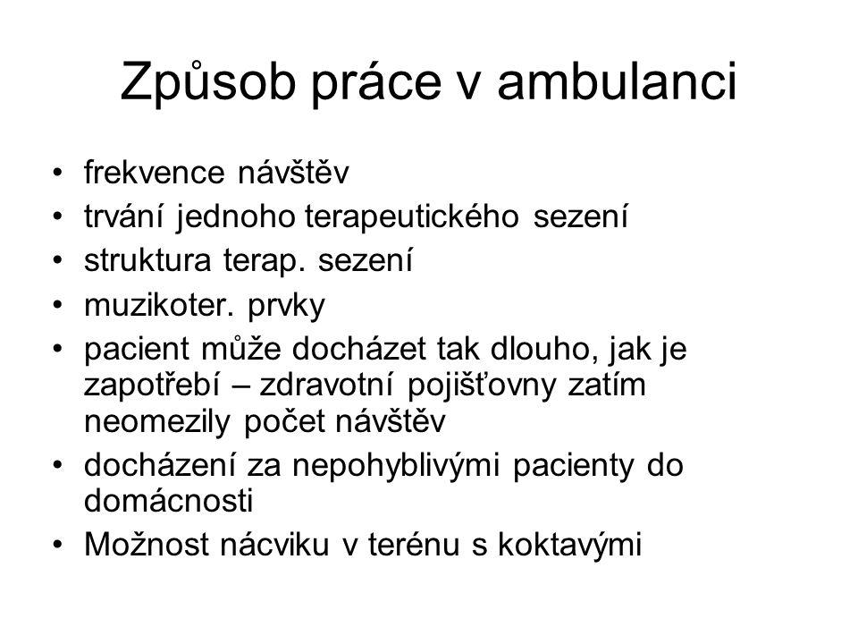Způsob práce v ambulanci •frekvence návštěv •trvání jednoho terapeutického sezení •struktura terap.