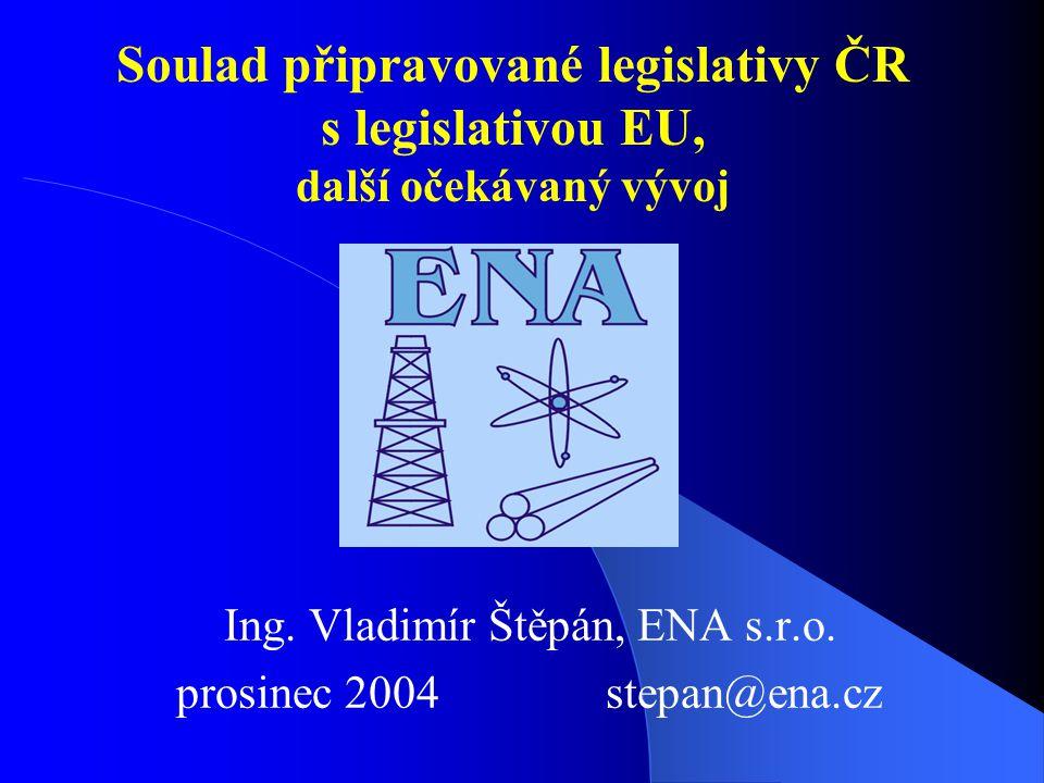 Soulad připravované legislativy ČR s legislativou EU, další očekávaný vývoj Ing.