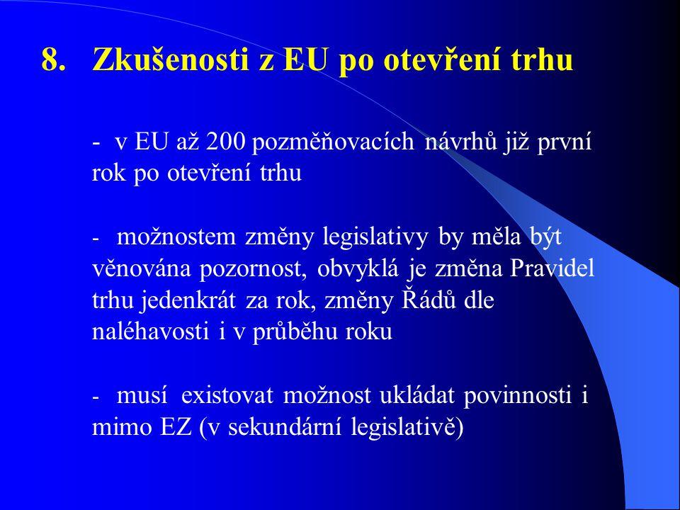 8. Zkušenosti z EU po otevření trhu - v EU až 200 pozměňovacích návrhů již první rok po otevření trhu - možnostem změny legislativy by měla být věnová
