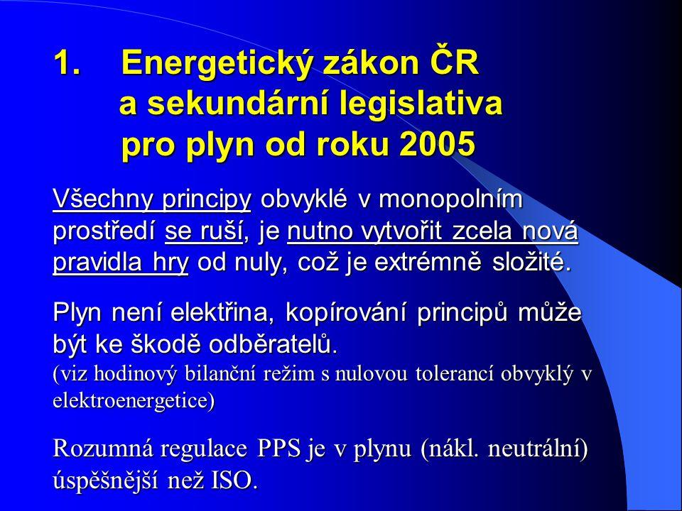 1.Energetický zákon ČR a sekundární legislativa pro plyn od roku 2005 Všechny principy obvyklé v monopolním prostředí se ruší, je nutno vytvořit zcela