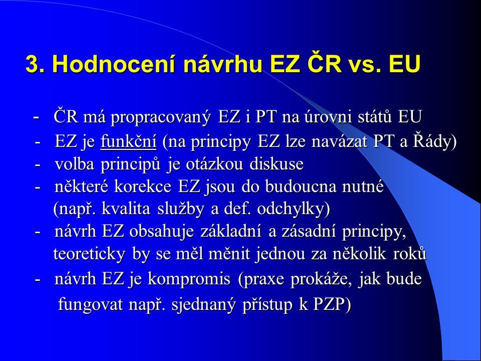 3. Hodnocení návrhu EZ ČR vs. EU - ČR má propracovaný EZ i PT na úrovni států EU - EZ je funkční (na principy EZ lze navázat PT a Řády) - volba princi