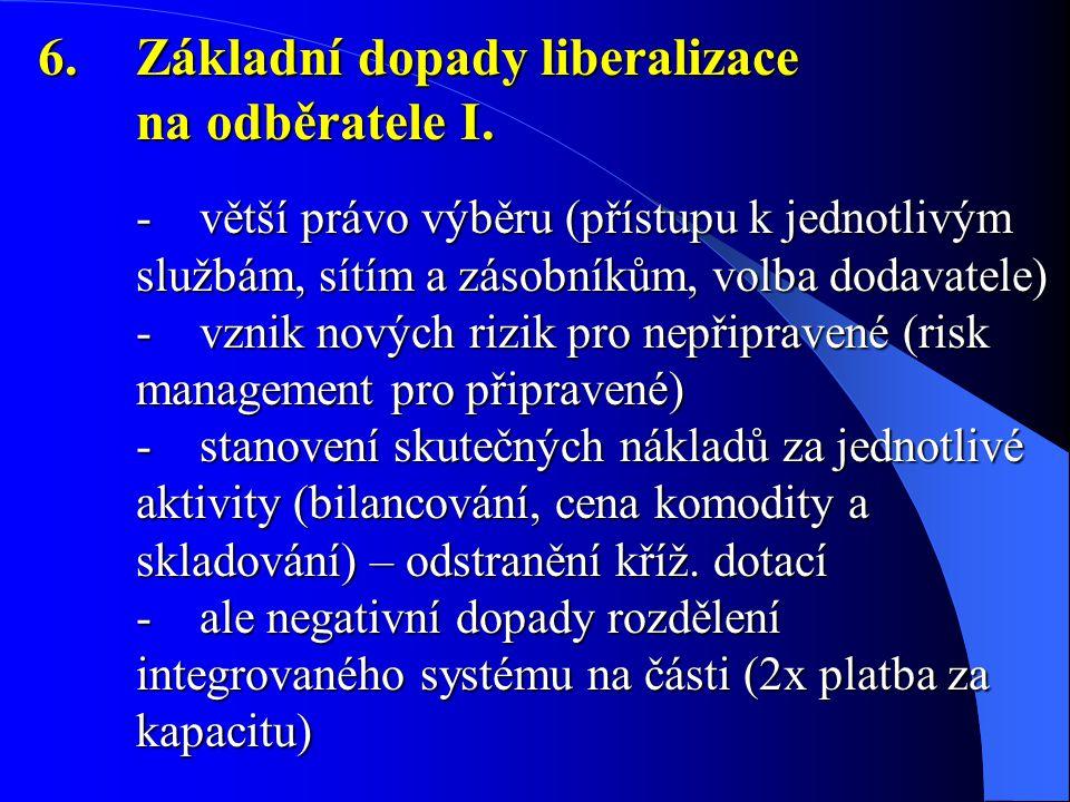 6.Základní dopady liberalizace na odběratele I. - větší právo výběru (přístupu k jednotlivým službám, sítím a zásobníkům, volba dodavatele) - vznik no