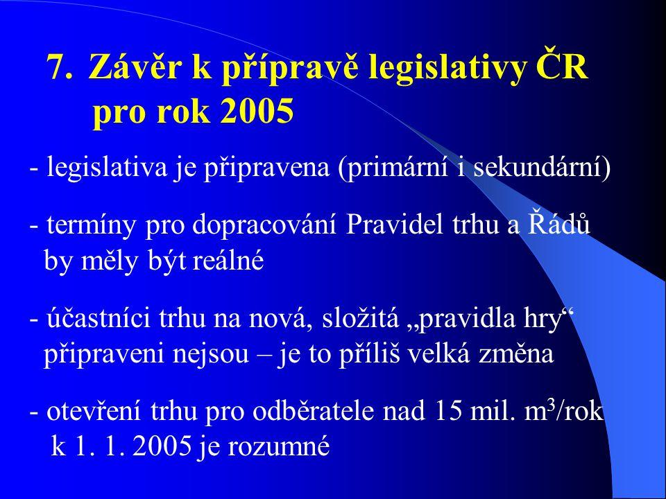 7. Závěr k přípravě legislativy ČR pro rok 2005 - legislativa je připravena (primární i sekundární) - termíny pro dopracování Pravidel trhu a Řádů by