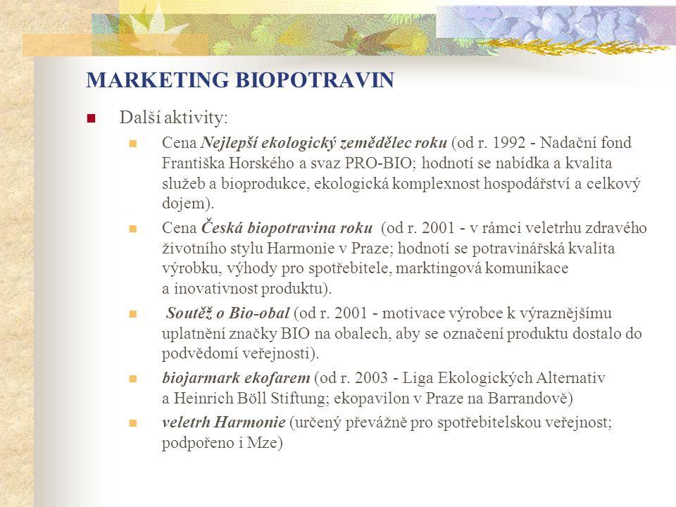 MARKETING BIOPOTRAVIN  Další aktivity:  Cena Nejlepší ekologický zemědělec roku (od r. 1992 - Nadační fond Františka Horského a svaz PRO-BIO; hodnot