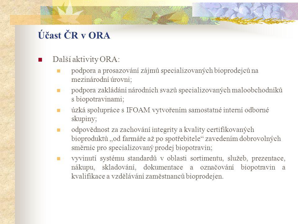 Účast ČR v ORA  Další aktivity ORA:  podpora a prosazování zájmů specializovaných bioprodejců na mezinárodní úrovni;  podpora zakládání národních s