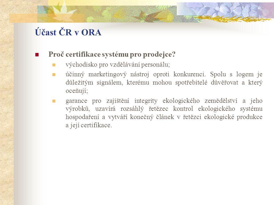Účast ČR v ORA  Proč certifikace systému pro prodejce?  východisko pro vzdělávání personálu;  účinný marketingový nástroj oproti konkurenci. Spolu