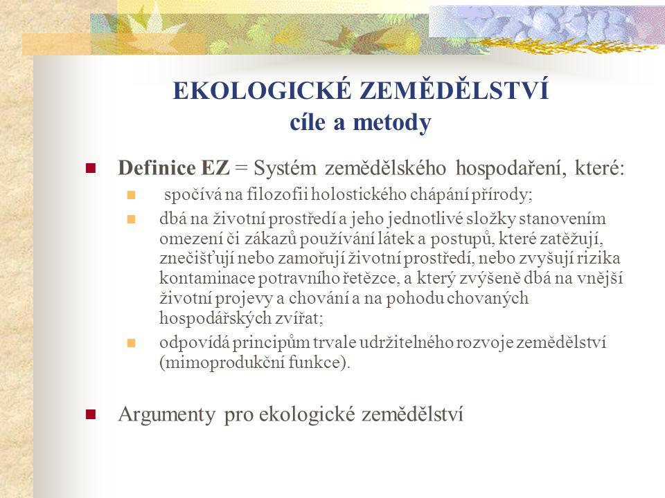 EKOLOGICKÉ ZEMĚDĚLSTVÍ cíle a metody  Definice EZ = Systém zemědělského hospodaření, které:  spočívá na filozofii holostického chápání přírody;  db