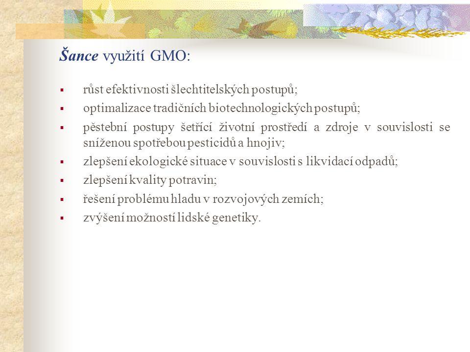 Šance využití GMO:  růst efektivnosti šlechtitelských postupů;  optimalizace tradičních biotechnologických postupů;  pěstební postupy šetřící život