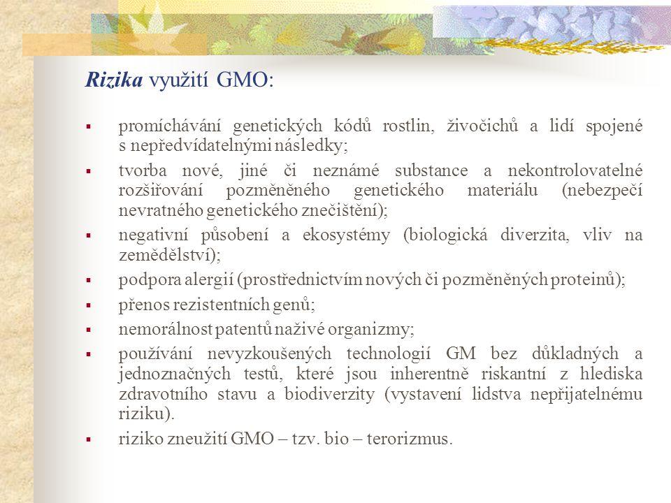 Rizika využití GMO:  promíchávání genetických kódů rostlin, živočichů a lidí spojené s nepředvídatelnými následky;  tvorba nové, jiné či neznámé sub