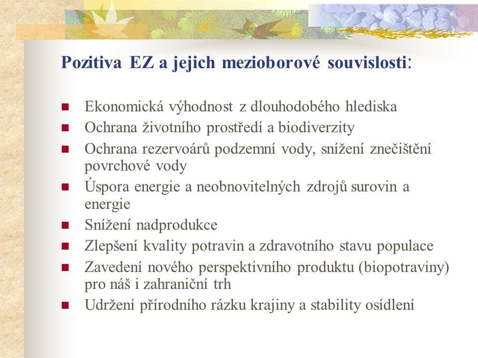 Pozitiva EZ a jejich mezioborové souvislosti :  Ekonomická výhodnost z dlouhodobého hlediska  Ochrana životního prostředí a biodiverzity  Ochrana r