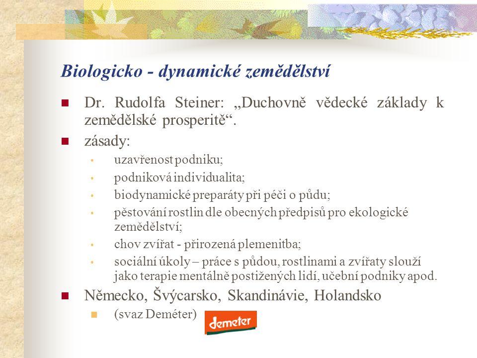 """Biologicko - dynamické zemědělství  Dr. Rudolfa Steiner: """"Duchovně vědecké základy k zemědělské prosperitě"""".  zásady: • uzavřenost podniku; • podnik"""