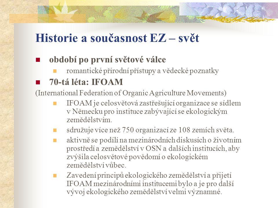 Historie a současnost EZ – svět  období po první světové válce  romantické přírodní přístupy a vědecké poznatky  70-tá léta: IFOAM (International F
