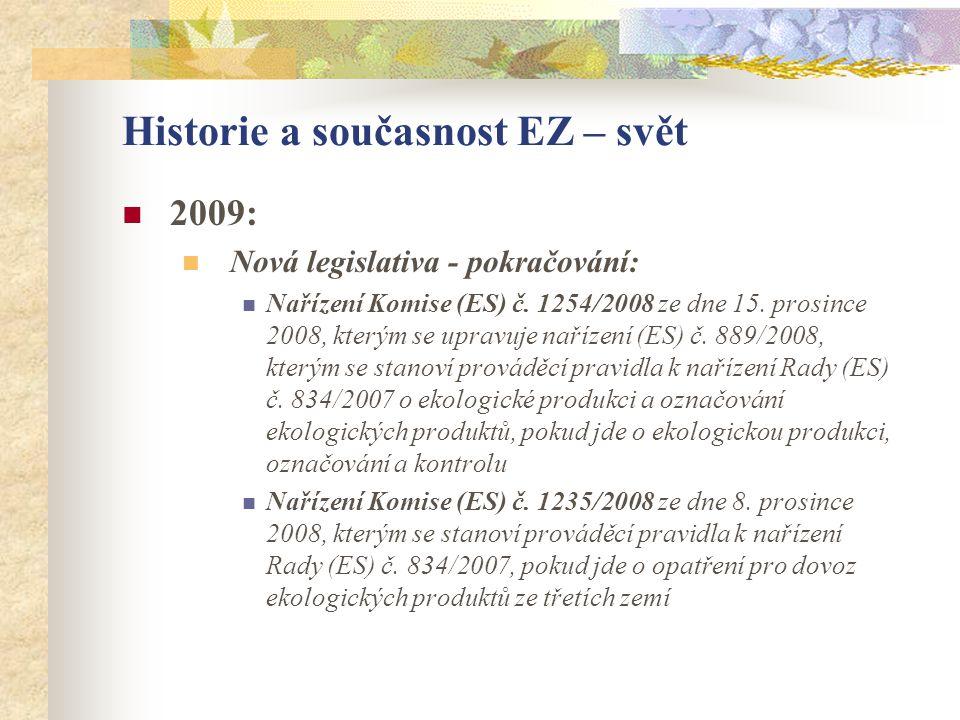 Historie a současnost EZ – svět  2009:  Nová legislativa - pokračování:  Nařízení Komise (ES) č. 1254/2008 ze dne 15. prosince 2008, kterým se upra