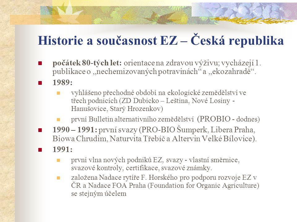 """Historie a současnost EZ – Česká republika  počátek 80-tých let: orientace na zdravou výživu; vycházejí 1. publikace o """"nechemizovaných potravinách"""""""