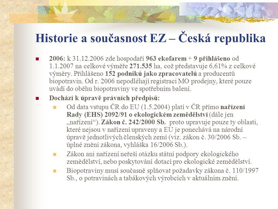 Historie a současnost EZ – Česká republika  2006: k 31.12.2006 zde hospodaří 963 ekofarem + 9 přihlášeno od 1.1.2007 na celkové výměře 271.535 ha, co