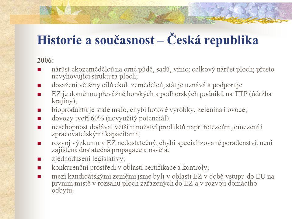 Historie a současnost – Česká republika 2006:  nárůst ekozemědělců na orné půdě, sadů, vinic; celkový nárůst ploch; přesto nevyhovující struktura plo
