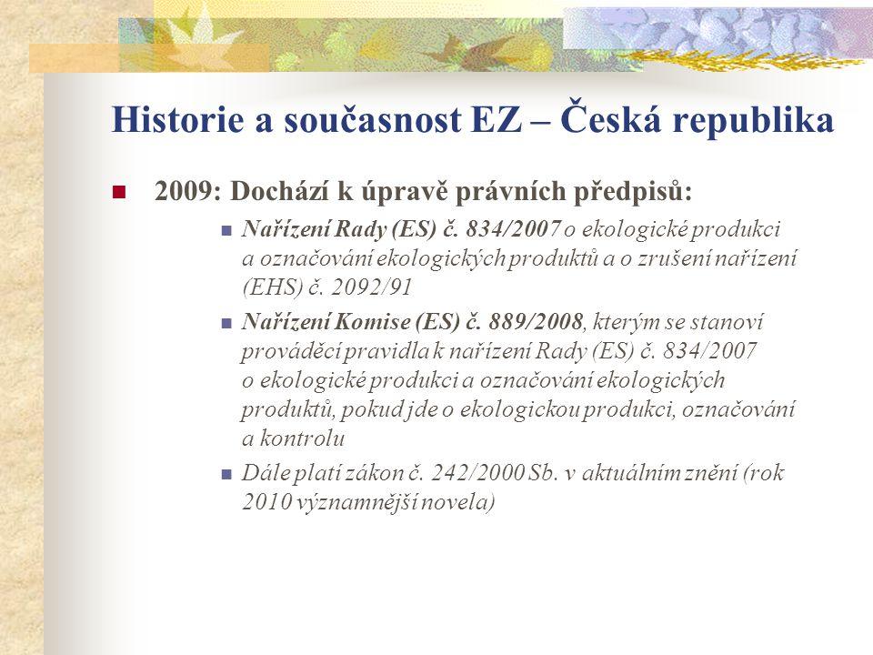 Historie a současnost EZ – Česká republika  2009: Dochází k úpravě právních předpisů:  Nařízení Rady (ES) č. 834/2007 o ekologické produkci a označo