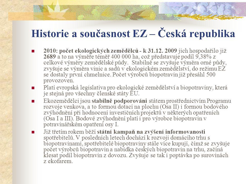 Historie a současnost EZ – Česká republika  2010: počet ekologických zemědělců - k 31.12. 2009 jich hospodařilo již 2689 a to na výměře téměř 400 000