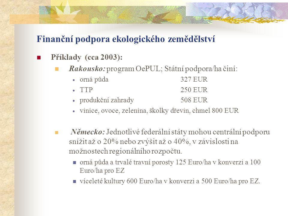 Finanční podpora ekologického zemědělství  Příklady (cca 2003):  Rakousko: program OePUL; Státní podpora/ha činí:  orná půda 327 EUR  TTP 250 EUR