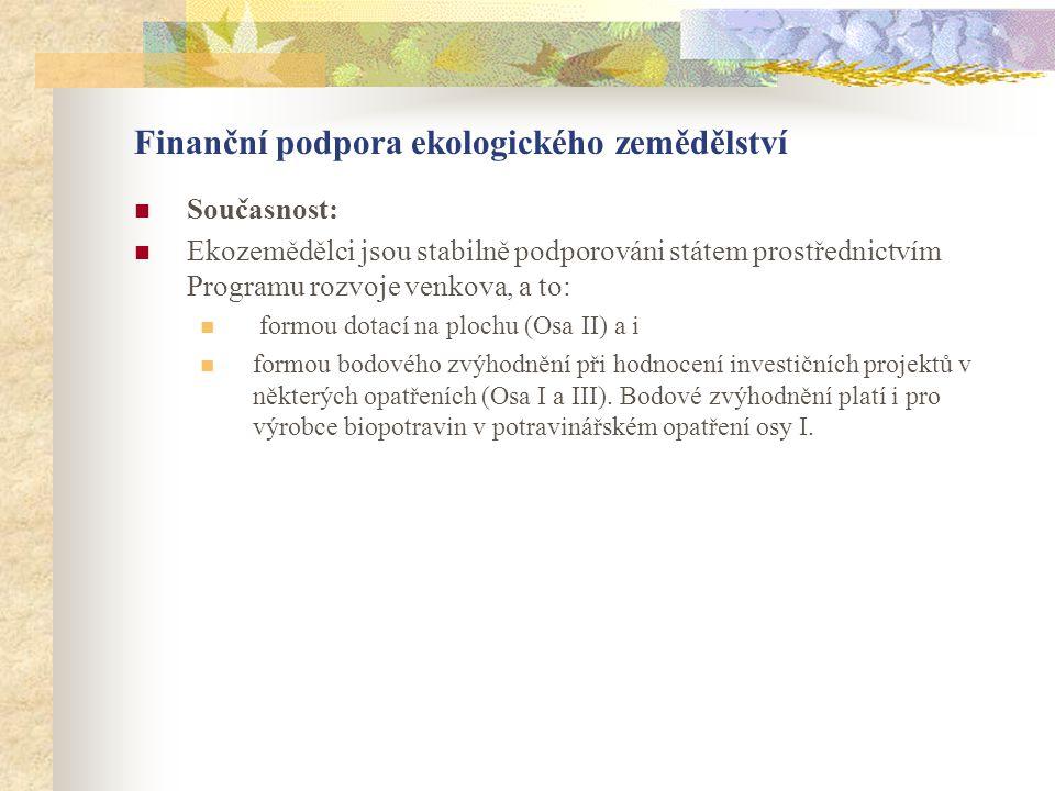Finanční podpora ekologického zemědělství  Současnost:  Ekozemědělci jsou stabilně podporováni státem prostřednictvím Programu rozvoje venkova, a to