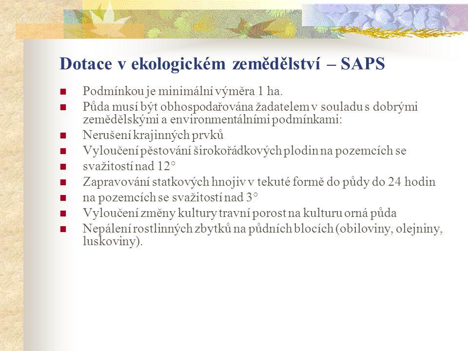 Dotace v ekologickém zemědělství – SAPS  Podmínkou je minimální výměra 1 ha.  Půda musí být obhospodařována žadatelem v souladu s dobrými zemědělský