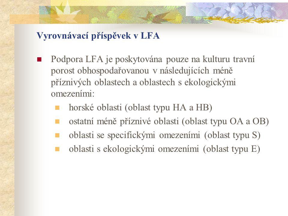 Vyrovnávací příspěvek v LFA  Podpora LFA je poskytována pouze na kulturu travní porost obhospodařovanou v následujících méně příznivých oblastech a o