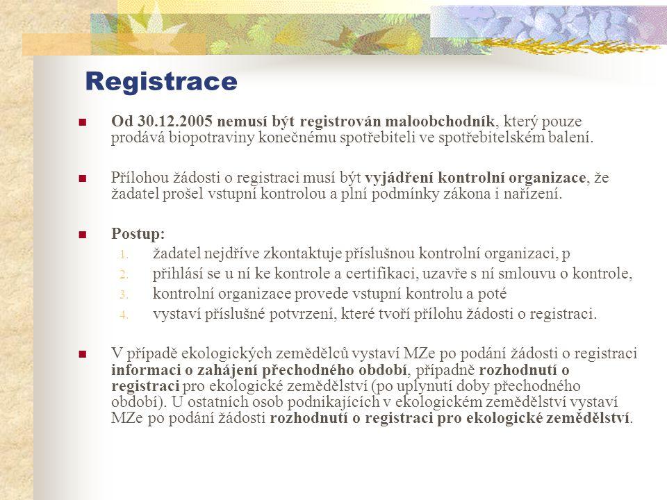 Registrace  Od 30.12.2005 nemusí být registrován maloobchodník, který pouze prodává biopotraviny konečnému spotřebiteli ve spotřebitelském balení. 