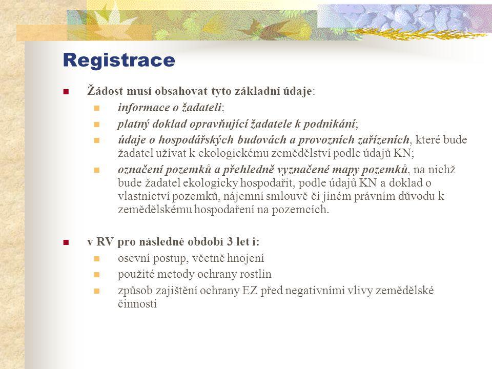 Registrace  Žádost musí obsahovat tyto základní údaje:  informace o žadateli;  platný doklad opravňující žadatele k podnikání;  údaje o hospodářsk