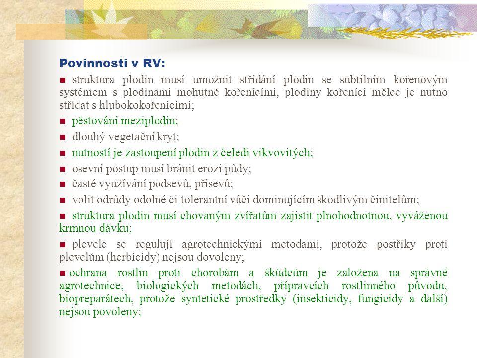 Povinnosti v RV:  struktura plodin musí umožnit střídání plodin se subtilním kořenovým systémem s plodinami mohutně kořenícími, plodiny kořenící mělc