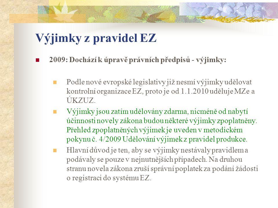Výjimky z pravidel EZ  2009: Dochází k úpravě právních předpisů - výjimky:  Podle nové evropské legislativy již nesmí výjimky udělovat kontrolní org