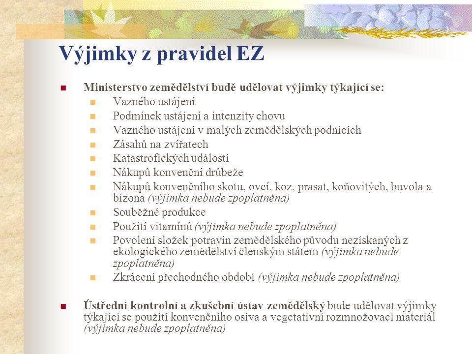Výjimky z pravidel EZ  Ministerstvo zemědělství budě udělovat výjimky týkající se:  Vazného ustájení  Podmínek ustájení a intenzity chovu  Vazného