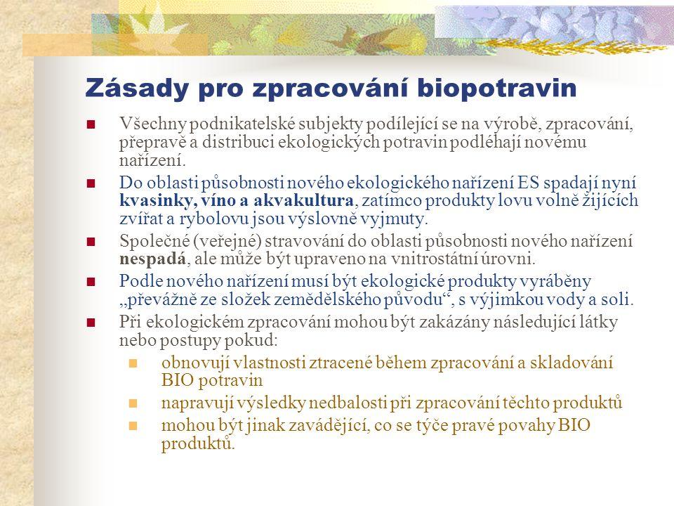 Zásady pro zpracování biopotravin  Všechny podnikatelské subjekty podílející se na výrobě, zpracování, přepravě a distribuci ekologických potravin po
